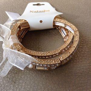 Natasha Jewelry - Natasha Gold Rhinestone 3pc Bracelet Set